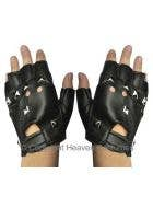 Fingerless Black Studded Punk Biker Gloves