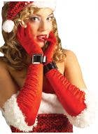 Ruched Sexy Miss Santa Red Christmas Gloves