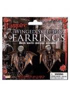 Gothic Winged Skeleton Halloween Earrings