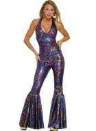 Women's 70's Disco Jumpsuit Costume Main Image