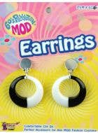 60's Mod Black and White Costume Earrings