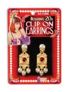 Roaring 20s Gold with Pearls Clip On Earrings