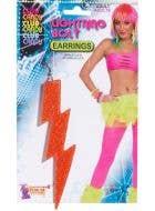 Orange Lightning Bolt 80's Fluro Earrings Costume Jewellery Main Image