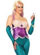 Metallic Blue Women's Mermaid Fingerless Costume Gloves