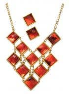 Roaring 20's Women's Red Earrings And Necklace Set