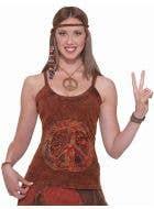 Women's Brown Peace Sign Hippie Costume Top