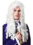 Long White Curly Colonial Costume Wig Front View