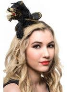 Black and Gold Velvet Mini Top Hat with Feathers
