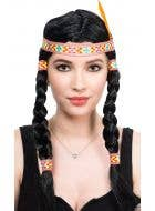 Black Plaited American Indian Women's Costume Wig