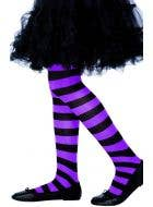 Striped Purple and Black Girls Full Length Stockings