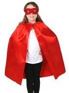 Children's Red Superhero Satin Cape and Mask Set