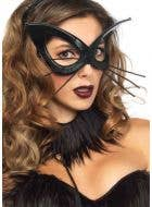 Black Cat Deluxe Women's Costume Mask With Whiskers