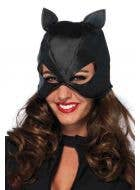 Women's Black Faux Leather Catwoman Mask Costume Accessory