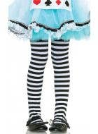Striped White and Black Girls Full Length Tights
