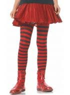 Striped Girl's Tights Red and Black Costume Accessory Stockings