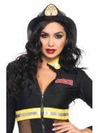 Women's Deluxe Black Firefighter Costume Hat Main Image