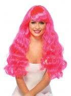 Magenta Pink Women's Long Wavy Costume Wig
