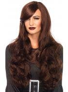 Women's Long Brown Wavy Halloween Costume Wig