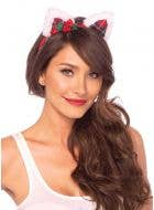 Red Tartan Cat Ears on Headband Christmas Costume Accessory