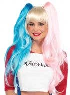 Harley Quinn Blonde Bob Wig with Blue and Pink Ponytail Clips