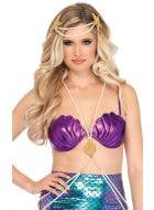 Magical Mermaid Purple Shell Bra Top Costume Accessory Front Image