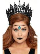 Dark Queen Glitter Black Crown With Jewel Accent Costume Accessory