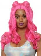 Space Buns Women's Hot Pink Wavy Costume Wig