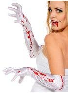 Blood Splattered Long White Halloween Gloves