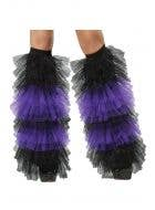 Ruffled Black and Purple Witch Tulle Boot Covers