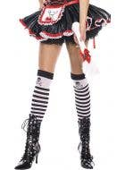 Pirate Skull Striped Thigh High Stockings