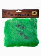 Stretchable Green Spider Web with Spiders Halloween Decoration