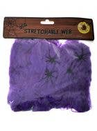 Stretchable Purple Spider Web with Spiders Halloween Decoration