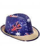 Deluxe Australia Day Straw Fedora with Aussie Flags