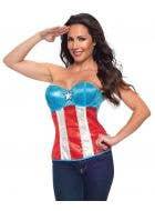 Womens sexy costume corset captain america super hero red and white
