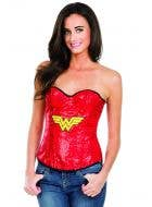 Sexy Red Wonder Woman Fancy Dress Corset with Sequins
