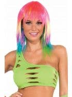 Neon Green Women's Cut Out Bra Top Rave Wear View 1