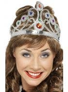 Queen's Jeweled Silver Crown Accessory