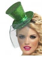 Fever Green Glitter Mini Top Hat