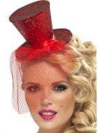 Fever Glitter Mini Top Hat - Red