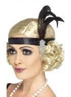 Charleston Black Satin Flapper Headband Costume Accessory