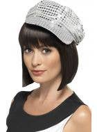 70's Silver Sequined Disco Costume Hat