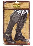 Men's Black Vinyl Leather Look Pirate Boot Top Covers - Packaging View