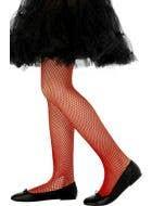 Red Fishnet Costume Stockings for Kids