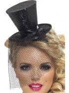 Women's Black Glitter Burlesque Mini Top Hat Costume Accessory Main Image