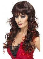 Vixen Brunette Curly Wig with Red Streaks
