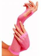 80's Neon Pink Fingerless Fishnet Gloves