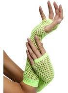 80's Neon Green Fingerless Fishnet Gloves