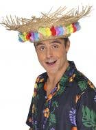 Straw Hawaiian Costume Hat with Rainbow Flowers