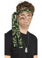 Army soldier adults green camo headscarf costume accessrory