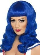 Sweetheart Long Blue Curly Women's Costume Wig